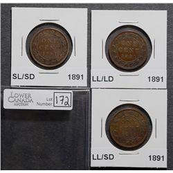 Cent 1891 LD/LL F-12, SD/LL F-12, SD/SL VG-10, all coins Obverse 3. Lot of 3 coins