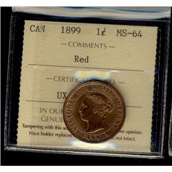 Cent 1899, ICCS MS-64; Red. 80% red with full lustre.