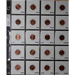 Cent 1999P to  2011 Magnetic, coins are form rolls or Mint Sets, none circulated, to be viewed. Lot