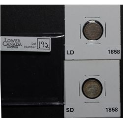 5 Cents 1858 SD EF-40 & 1858 LD G-6. Lot of 2 coins.