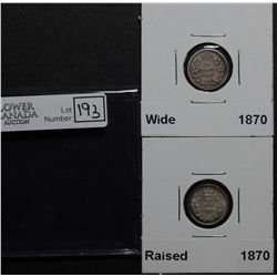 5 Cents 1870 FB VG-8 & 1870 RB EF-40. Lot of 2 coins.