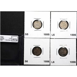 5 Cents 1885 S5 VG-8, 1885 L5 F-12, 1886 S6 G-6 & 1886 L6 F-12. Lot of 4 coins.