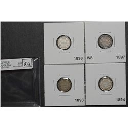 5 Cents 1893 9/9 RP3 VF-20, 1894 VF-20, 1896 VF-30 & 1897 W8 VG-10. Lot of 4 coins.