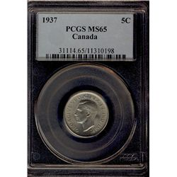 5 Cents 1937, PCGS MS-65. A lovely Gem with full lustre.