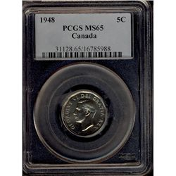 5 Cents 1948, PCGS MS-65. A popular date.