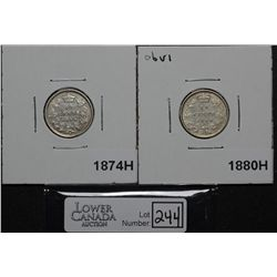 10 Cents 18714H About VF & 1880H Obv 1 VF029. Lot of 2 coins.