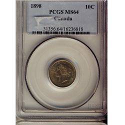 10 Cents 1898, PCGS MS-64. Intense brown to green shades. Near Gem. Flashy.