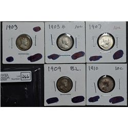 10 Cents 1903 F-15, 1903H F-12, 1907 VF-20, 1909 BL F-12, 1910 VF-20. Lot of 5 coins.