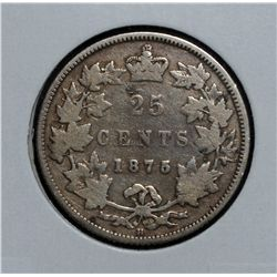 25 Cents 1875H Blunt 5 G-6 some corrosion have been srcratched off behind the effigy.