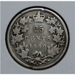 25 Cents 1880H N/W0 G-6.