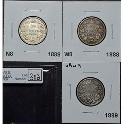 25 Cents 1888 N8 F-12, 1888 W8 VG-8 & 1889 Open 9 G-6. Lot of 3 coins.