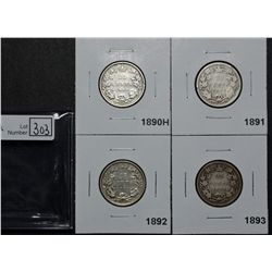 25 Cents 1890H VG-10, 1891 AG-3, 1892 VG-8, 1893 G-6. Lot of 4 coins.