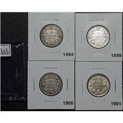 25 Cents 1894 VG-8, 1899 VF-30, 1900 VG-8, 1901 VF-30. Lot of 4 coins.