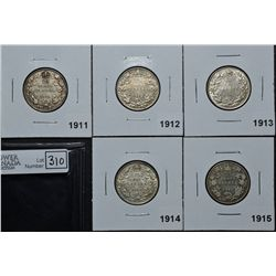 25 Cents 1911 F-15, 1912 VF-20, 1913 EF-40, 1914 VF-20, 1915 VG-8. Lot of 5 coins.