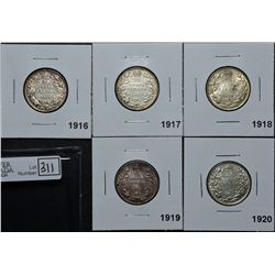 25 Cents 1916 VF-20, 1917 VF-20, 1918 VF-20, 1919 VF-20 & 1920 VF-20 Cleaned. Lot of 5 coins.