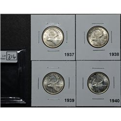 25 Cents 1937 MS-60, 1938 AU-50, 1939 EF-45, 1940 MS-60. Lot of 4 coins.