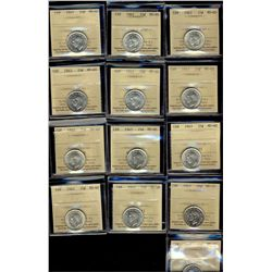 25 Cents 1942(2), 1943(10) & 1948, all ICCS MS-60. Lot of 13 coins.