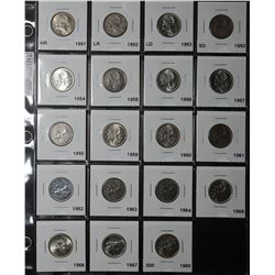 25 Cents 1951 HR MS-63 to 1968 Si MS-64, read. Lot of 19 coins.