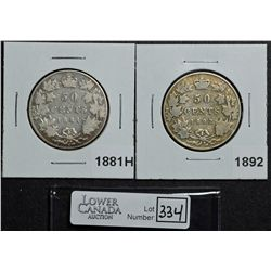 50 Cents 1881H VG-8 & 1892 Obverse 4 VG-8. Lot of 2 coins.