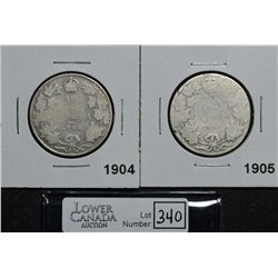 50 Cents 1904 & 1905 both AG-3. Lot of 2 coins.