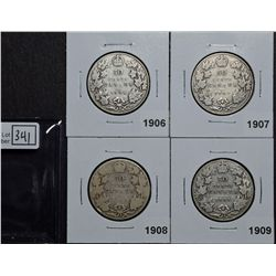 50 Cents 1906 VG-8, 1907 VG-8, 1908 AG-3, 1909 VG-8. Lot of 4 coins.