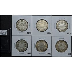 50 Cents 1913 VG-8, 1914 VG-8, 1916 VG-8, 1917 VG-10, 1918 VF-20, 1919 VF-20. Lot of 6 coins.
