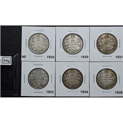 50 Cents 1920 S0 VG-8, 1929 VG-8, 1931 VG-8, 1932 VG-8, 1934 VG-8 & 1936 VG-10. Lot of 6 coins.