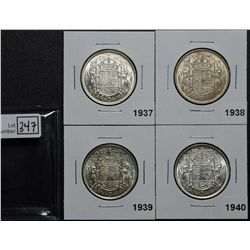 50 Cents 1937 MS-62, 1938 VF-20, 1939 EF-40 & 1940 MS-60. Lot of 4 coins.