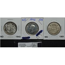 50 Cents 1943 ND AU-55, 1946 WD EF-40 Obverse Polished, 1951 WD  VF-20. Lot of 3 coins.