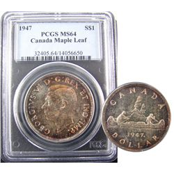 1 Dollar 1947, PCGS MS-64; Maple Leaf. Lightly toned. A nice example.