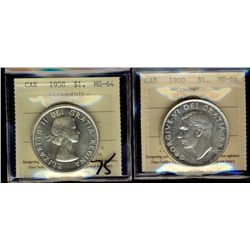 1 Dollar 1950 SWL & 1958, both ICCS MS-64. Lot of 2 coins.