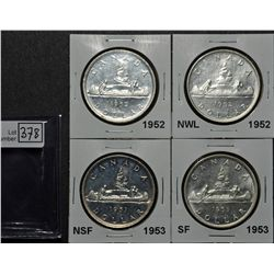 1 Dollar 1952 MS-63, 1952 NWL MS-63, 1953 NSF MS-62, 1953 SF MS-62. Lot of 4 coins.