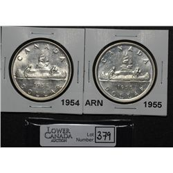 1 Dollar 1954 SWL MS-62, 1955 SWL  AU-50. Lot of 2 coins.