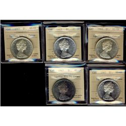 1 Dollar 1965, ICCS MS-64; Large Beads Blunt 5. Lot of 5 coins.