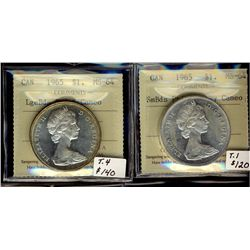 1 Dollar 1965, Small Beads Pointed 5 & Large Beads Pointed 5, both ICCS MS-64 Cameo to Heavy Cameo.