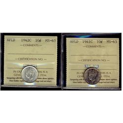 Newfoundland; 10 Cents 1941c & 1942c, ICCS MS-63. Lot of 2 coins.