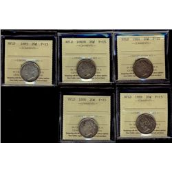 Newfoundland; 20 Cents 1881, 1882H, 1885, 1888 & 1890 ICCS F-15. Lot of 5 coins.
