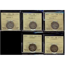 Newfoundland; 20 Cents 1894 Obv 1, 1896 Obv 2, 1900 & 1904H ICCS F-15. Lot of 4 coins.