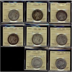 Newfoundland; 50 Cents 1870, 1873, 1874, 1876H, 1881 Scratches, 1882H, 1894 & 1896 Obv 1 Lg W, ICCS