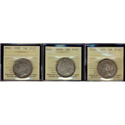 Newfoundland; 50 Cents 1870, 1882H & 1900 ICCS F-15. Lot of 3 coins.