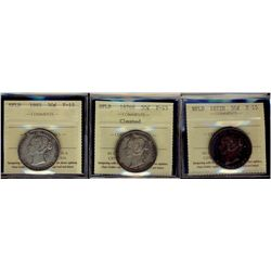 Newfoundland; 50 Cents 1872H, 1876H & 1885 ICCS F-15. Lot of 3 coins.