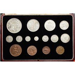 Great Britain; Prf/Spe Set 1937, 15 coins  PS21, KM # 843 to KM # 857 in original case. 4 Maundy + 1
