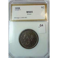 1856 UPRIGHT 5 LARGE CENT PCI MS-65  BN