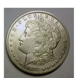 1892-S MORGAN SILVER DOLLAR XF-AU CLEANED
