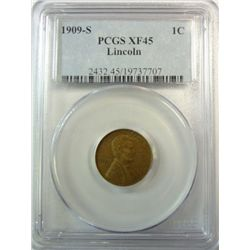 1909-S LINCOLN CENT PCGS XF-45