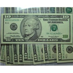 SET OF 10 CONSECUTIVE SERIAL NUMBERS STAR NOTES 1999