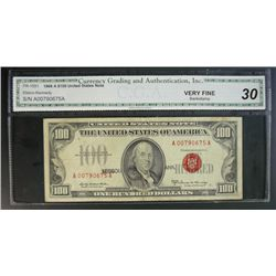 1966 $100 U.S. NOTE, FR-1551 CGA VF30, bank stamp