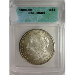 1890-CC MORGAN DOLLAR ICG MS-64 ORIGINAL