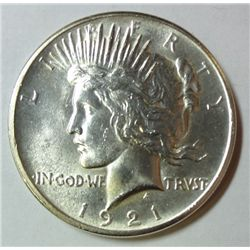 1921 PEACE DOLLAR HIGH RELIEF MS-63 NICE WHITE COIN