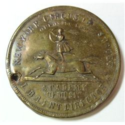 "1860'S NEW YORK CIRCUS TROUPE ""SHELL"" ADVERTISING TOKEN"